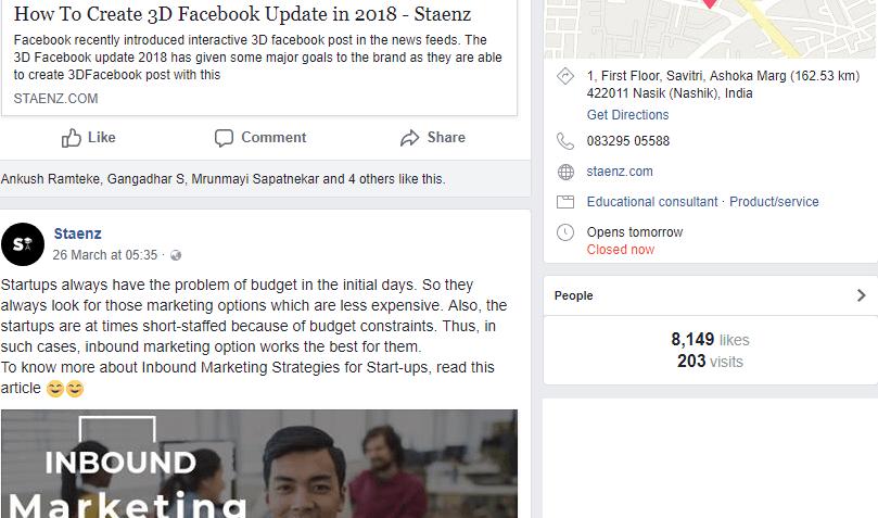 Staenz Facebook Page